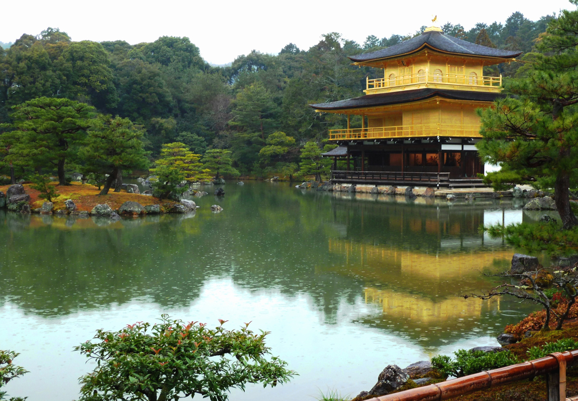 Golden Pavilion in Rain by Jayne Marek